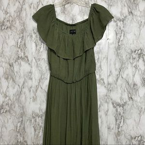 AUW Green Maxi dress slit in front